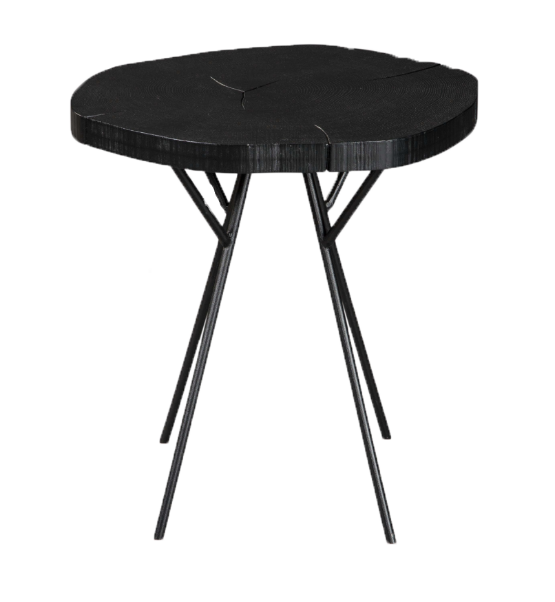 Black Cut Wood Side Table