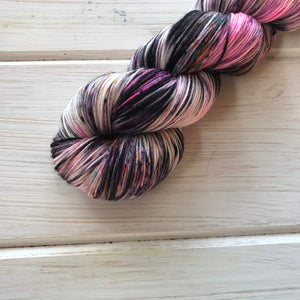 Blacked Out CATastrophe - 75/25 SW Merino, Nylon - Sock Yarn - Fingering Yarn - Hand Painted Yarn - Lagniappe Sock - Dyed To Order