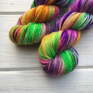 Throw Me Some Beads Please - 75/25 SW Merino, Nylon - DK Weight - Sock Yarn - Worsted Weight - Sparkle Yarn - Hand Painted Yarn - DTO