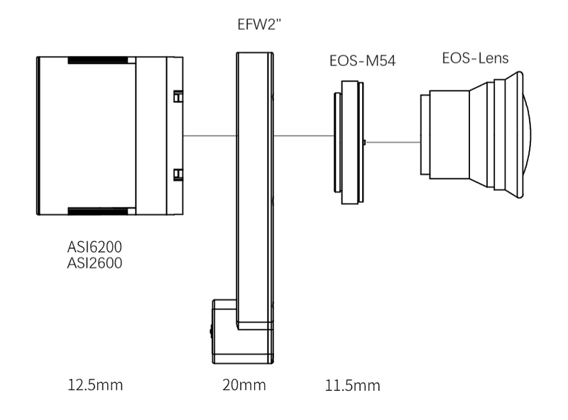 """ZWO Canon EF lens adapter for EFW filter wheel 2"""" connection"""