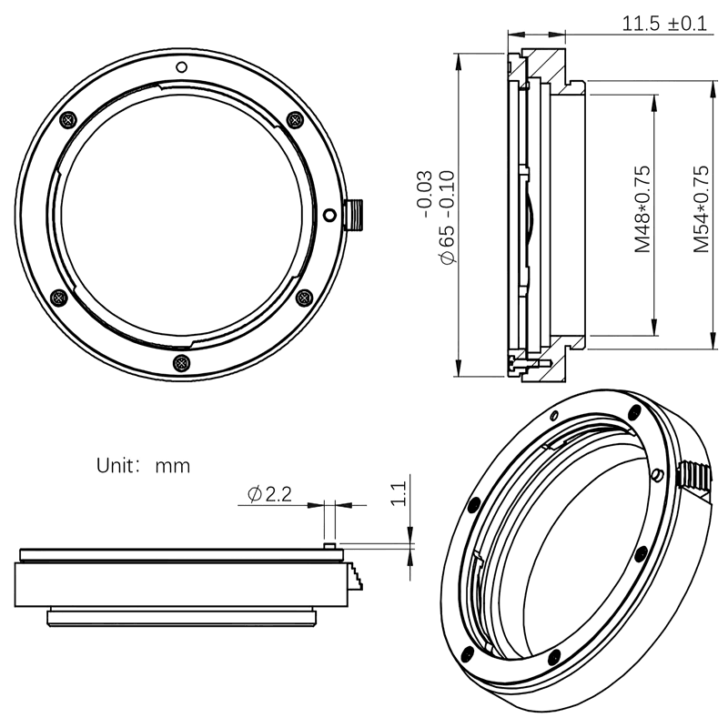"ZWO Canon EF lens adapter for EFW filter wheel 2"" diagram"