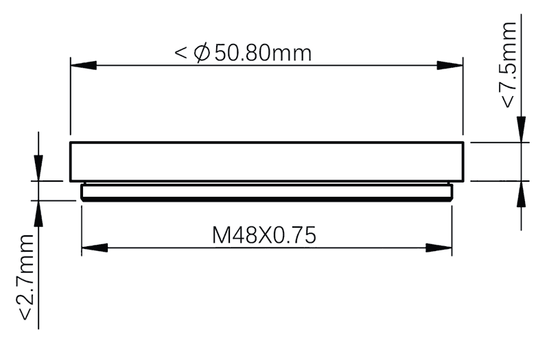 "ZWO 2"" filter draw measurements"