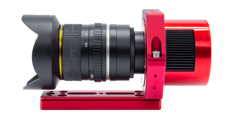ZWO Prima Luce Lab mounting system with Canon EF-mount lens side view