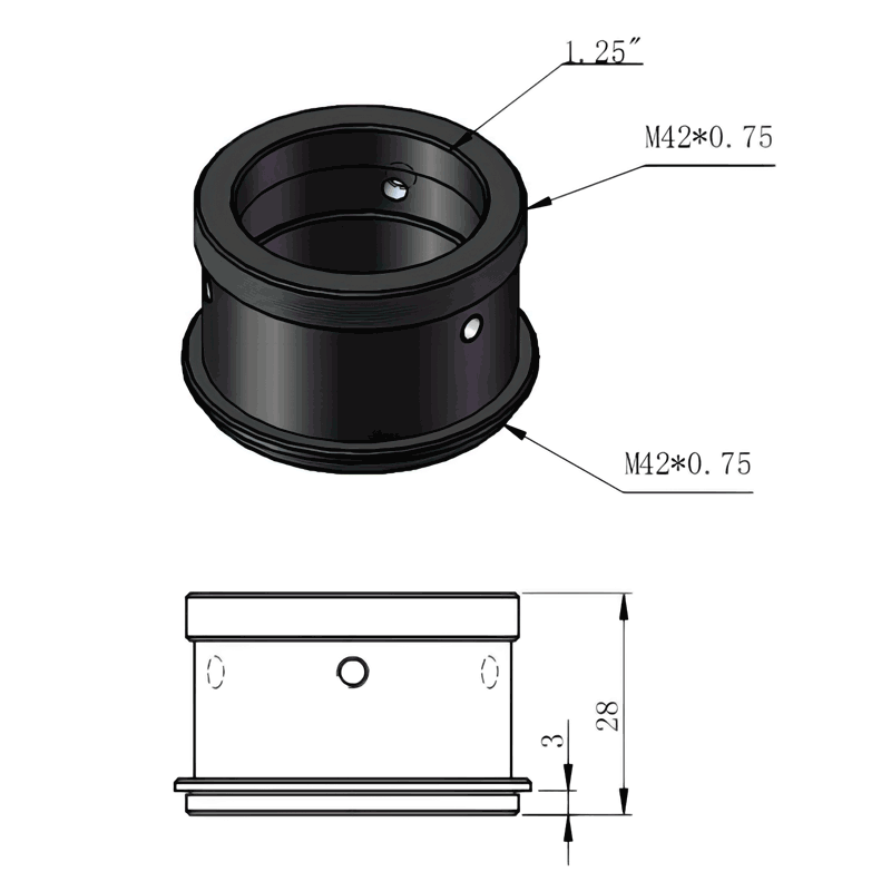 """ZWO T2, M42 - 1.25"""" adapter for ASI CMOS cameras and eyepieces"""
