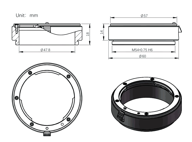 """Nikon Lens adapter for ZWO EFW 2"""" electronic filter wheel schematic"""