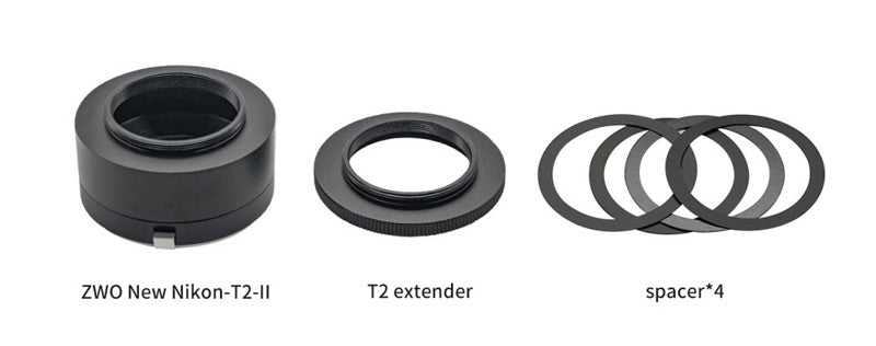 ZWO Nikon T2 M42 II Lens adapter for ASI cooled CMOS cameras - included items