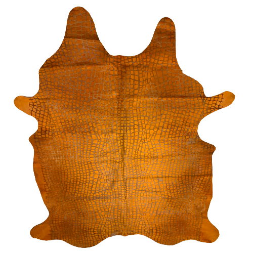"PROMO XL Orange Dyed Brazilian Cowhide with a Croc Acid Wash - 8'3"" x 5'6"" (BRAW088)"
