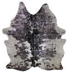 "PROMO Large Brazilian Black and White Cowhide with Lilac Metallic Acid Wash - 7'8"" x 5'10"" (BRAW090)"