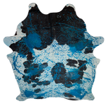 "PROMO Large Brazilian Dark Brown and White Cowhide w/ Blue Acid Wash - 7'9"" x 6'3"" (BRAW094)"
