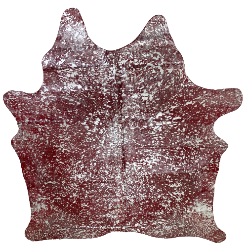 "PROMO Brazilian Dyed Red Cowhide with Silver Metallic Acid Wash - 7'3"" x 6'1"" (BRAW121)"
