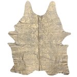 "PROMO XL Brazilian Off-White Cowhide with Gold Metallic Acid Wash - 8'3"" x 5'11"" (BRAW140)"