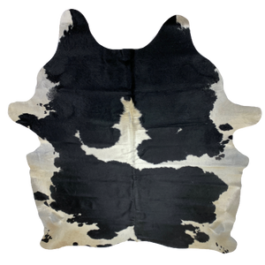 "Large Brazilian Black and Off-White Cowhide - 7'9"" x 6'1"" (BRBKW074)"