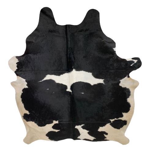 "Large Brazilian Black and White Cowhide - 7'10"" x 6'6"" (BRBKW082)"
