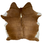 "Brazilian Red Brown and White Cowhide, 1 brand mark - 7'4"" x 5'9"" (BRBNW126)"