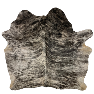 "Brazilian Black and White Brindle Cowhide - 6'5"" x 6' (BRBR283)"