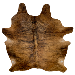 "Brazilian Brown and Black Brindle Cowhide, two white spots - 7'4"" x 6'1"" (BRBR360)"