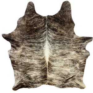 "XL Brazilian Brown and White Brindle Cowhide, one brand mark - 8' x 6'9"" (BRBR395)"