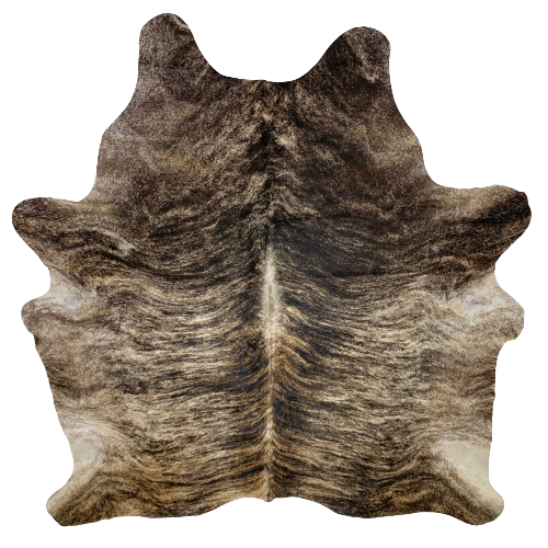 "Brazilian Black, Brown, and White Brindle Cowhide - 6'6"" x 5'10"" (BRBR399)"
