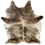 "XL Brazilian Brown, Black, Grey, Off-White Brindle Cowhide - 8'3"" x 6'6""  (BRBR406)"