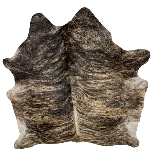 "Brazilian Black and Tan Brindle Cowhide - 6'10"" x 6'6"" (BRBR407)"