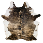 "Large Brazilian Black, Brown, White Brindle Cowhide - 7'5"" x 6' (BRBR409)"