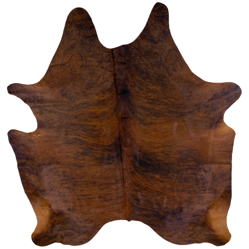 "Brazilian Dark Brindle Cowhide, Dark Red Brown and Black - 6'9"" x 5'8"" (BRBR475)"
