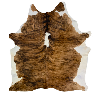 "Large Brazilian Light Brindle Cowhide, brown, dark brown, white - 7'7"" x 6' (BRBR498)"