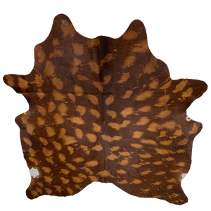 "PROMO Brazilian Brown Cowhide with Golden Brown Faux Acid Wash - 6'10"" x 5'8"" (BRAW001)"