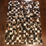 "Brazilian Brown and White Cowhide Patchwork Rug 6'8""L x 5'1""W"