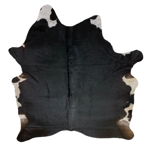 "Small Brazilian Black Brown Cowhide, touch of white	- 6'2"" x 5'4"" (BRSL054)"