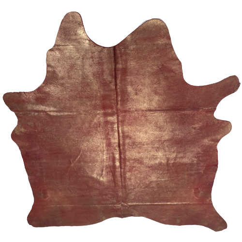 "Brazilian Dyed Red Cowhide w/ Gold Spray - 7'1"" x 6'3"" (BRSL055-1)"