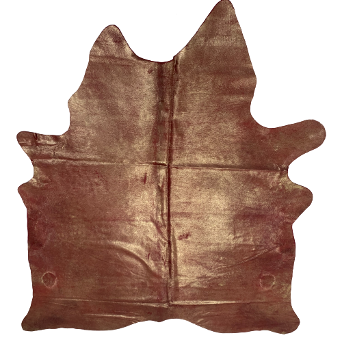 "Brazilian Dyed Red Cowhide w/ Gold Spray - 6'7"" x 5'3"" (BRSL055-2)"