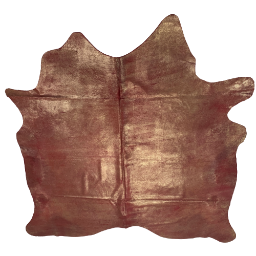 "Brazilian Dyed Red Cowhide w/ Gold Spray - 6'7"" x 6'2"" (BRSL055-3)"