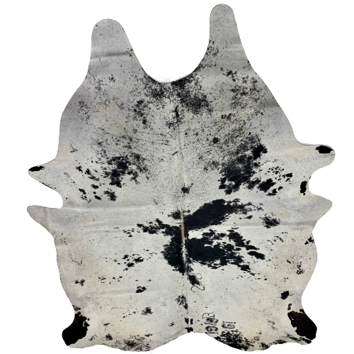 "XXL Brazilian Black and Off-White Salt & Pepper Cowhide, 5 brand marks - 8'6"" x 6'9"" (BRSP417)"