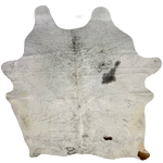 "Large Brazilian White and Dark Brown Salt & Pepper Cowhide, 2 brand marks - 7'5"" x 6'3"" (BRSP424)"