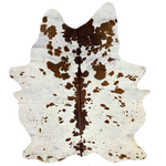 "Large Brazilian White and Brown Salt & Pepper Cowhide, one brand mark - 7'11"" x 6'2"" (BRSP436)"