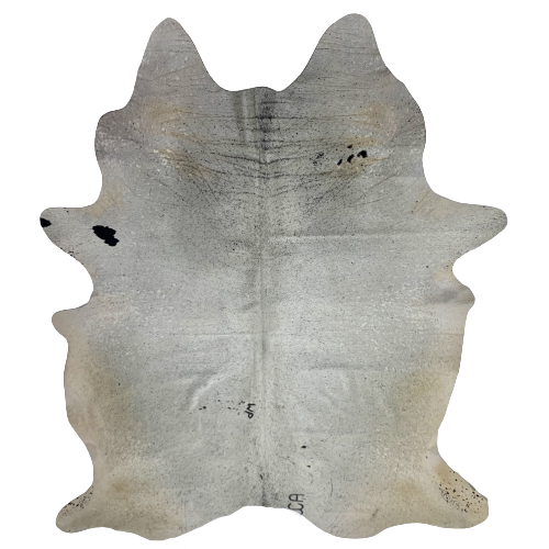 "Large Brazilian White and Black Salt & Pepper Cowhide, two brand marks - 7'11"" x 5'7"" (BRSP441)"