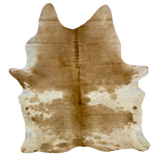 "Brazilian Caramel and White Salt & Pepper Cowhide - 7'3"" x 5'5"" (BRSP452)"