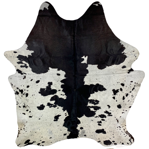 "Brazilian Black and White Salt & Pepper Cowhide, one brand mark - 7'4"" x 6'3"" (BRSP560)"