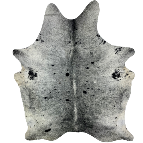"Large Brazilian Black and White Salt & Pepper Cowhide - 7'6"" x 5'11"" (BRSP570)"