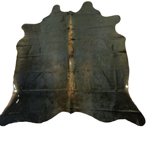 "Brazilian Watusi Cowhide - 6'1"" x 5'4"", black with a brown spine"