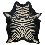 "Brazilian Reverse Zebra Print Cowhide, Black with Off White - 6'7"" x 5' (BRZPR007)"