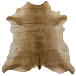 "Colombian designer light brown and white calfskin that has been embossed with a floral print 3'8""L x 2'9""W"