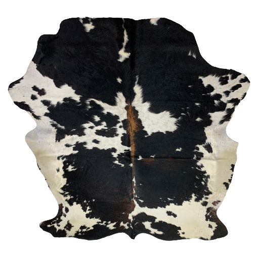 "Large Colombian Black and White Cowhide, w/  touch of brown - 7'9"" x 6' (COBKW088)"