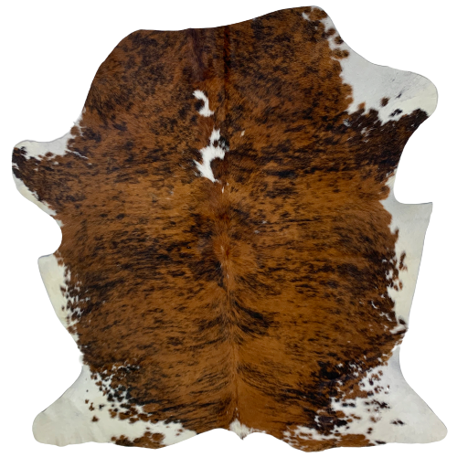 "Small Colombian Brown, Black, and White Brindle Cowhide, with black speckles - 5'10"" x 4'10"" (COBR490)"