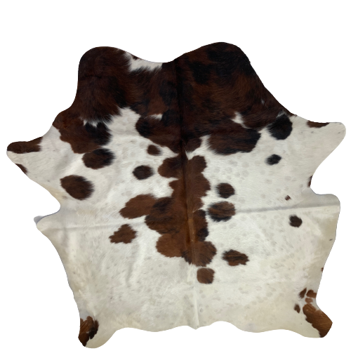 "Small Colombian Tricolor Cowhide, white, brown, black - 5'10"" x 5'4"" (COTR058)"