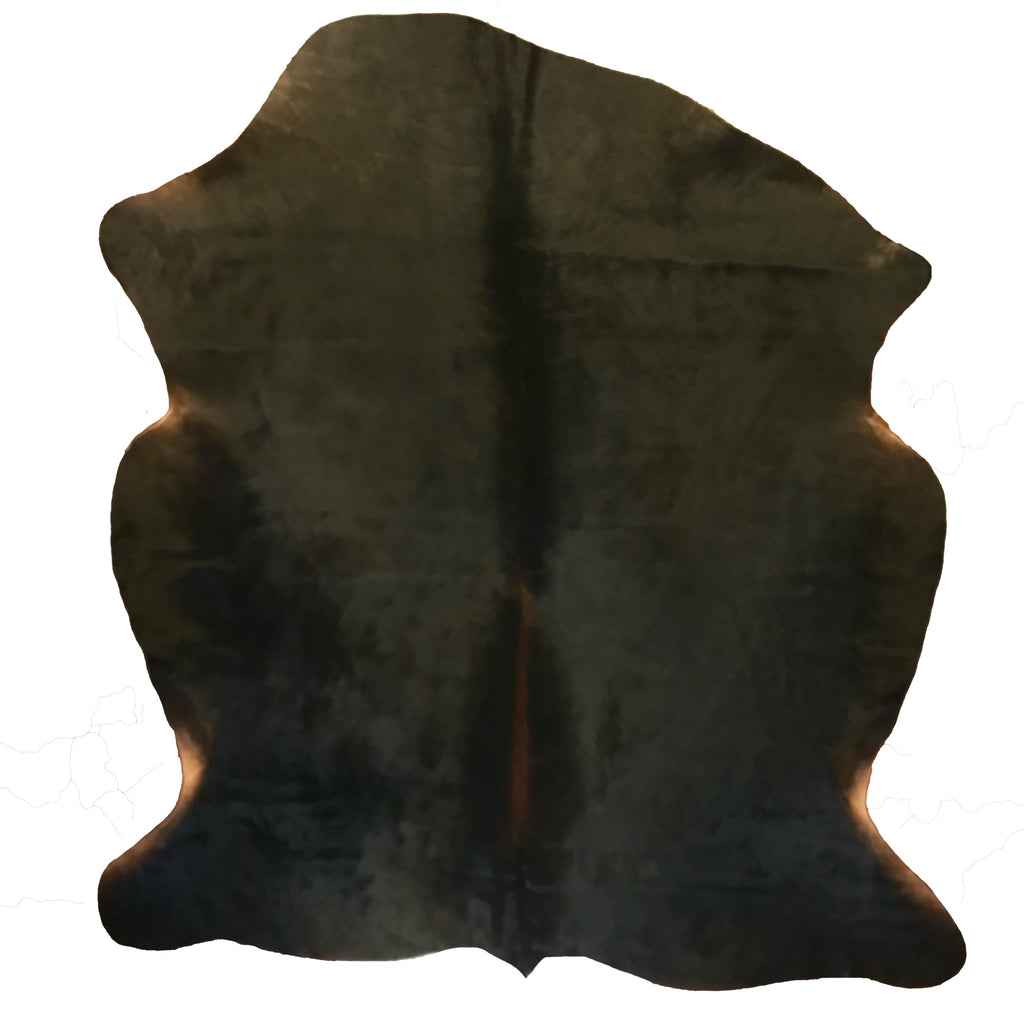 "This Watusi cowhide is black with a red spine  5' L x 6'3""W"