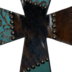 "12"" wood cross covered in brown and turquoise, embossed leather and cowhide patchwork"
