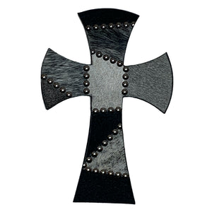 "12"" wood cross covered in grey, white and black cowhide patchwork"