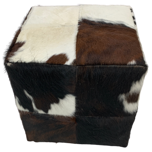 "White, Brown, Black Tricolor Cowhide Cube - 17"" (CUBE002)"